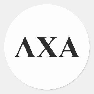 Lettres d'alpha de Chi de lambda Sticker Rond