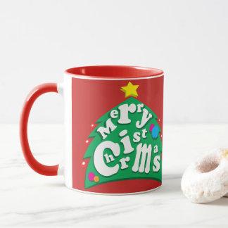 Lettres d'arbre de Joyeux Noël Mug
