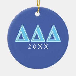 Lettres de bleu de delta de delta de delta ornement rond en céramique