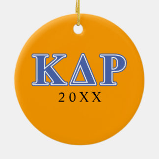 Lettres de bleu de thêta de Kappa de phi Ornement Rond En Céramique