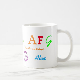 lettres de l'initiale de l'enfant/nommées colorées mug