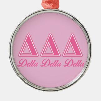 Lettres de rose de delta de delta de delta ornement rond argenté