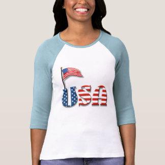 Lettres des Etats-Unis et drapeau américain T-shirt
