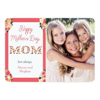 Lettres florales heureuses du jour de mère   avec carton d'invitation  12,7 cm x 17,78 cm