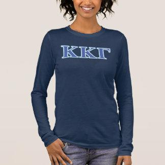 Lettres gamma de bleu royal et de bleus layette de t-shirt à manches longues