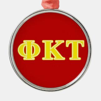 Lettres jaunes de Tau de Kappa de phi Ornement Rond Argenté