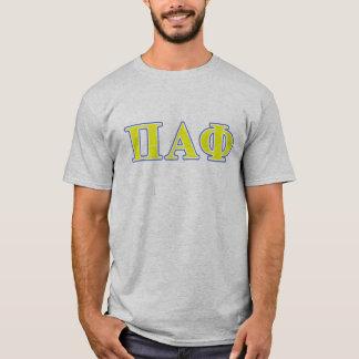 Lettres jaunes et bleues d'alpha phi de pi t-shirt