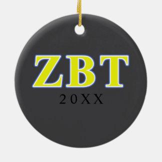Lettres jaunes et bleues de bêta Tau de Zeta Ornement Rond En Céramique