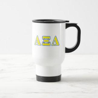 Lettres jaunes et bleues de delta de l'alpha XI Mug De Voyage