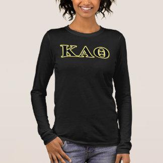 Lettres jaunes et noires d'alpha thêta de Kappa T-shirt À Manches Longues
