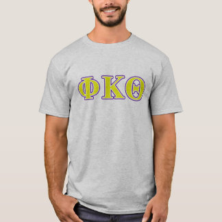 Lettres jaunes et pourpres de thêta de Kappa de T-shirt