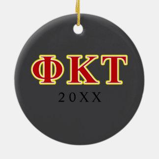 Lettres jaunes et rouges de Tau de Kappa de phi Ornement Rond En Céramique