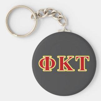 Lettres jaunes et rouges de Tau de Kappa de phi Porte-clé Rond