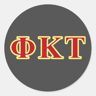 Lettres jaunes et rouges de Tau de Kappa de phi Sticker Rond