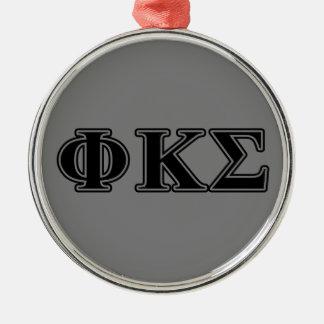 Lettres noires 2 de sigma de Kappa de phi Ornement Rond Argenté