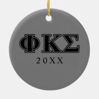 Lettres noires 2 de sigma de Kappa de phi Ornement Rond En Céramique