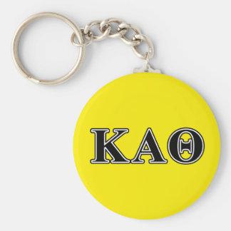 Lettres noires d'alpha thêta de Kappa Porte-clé Rond