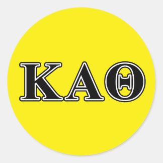 Lettres noires d'alpha thêta de Kappa Sticker Rond