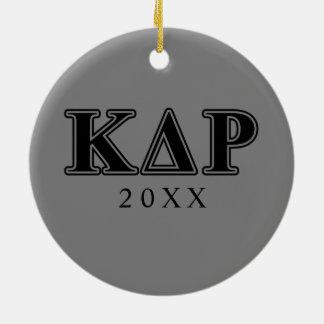 Lettres noires de thêta de Kappa de phi Ornement Rond En Céramique