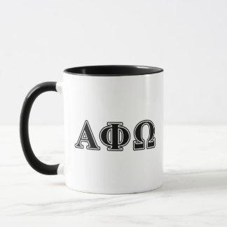 Lettres noires d'Omega d'alpha phi Mugs