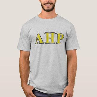 Lettres noires et jaunes d'alpha Rho d'Eta T-shirt