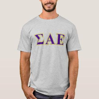 Lettres pourpres de sigma alpha et jaunes epsilon t-shirt