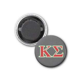 Lettres rouges et vertes de sigma de Kappa Magnet Carré 2,50 Cm