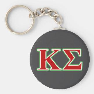 Lettres rouges et vertes de sigma de Kappa Porte-clé Rond