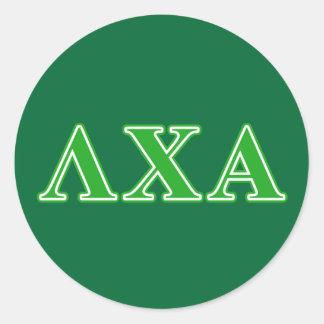 Lettres vertes de Chi de lambda alpha Sticker Rond