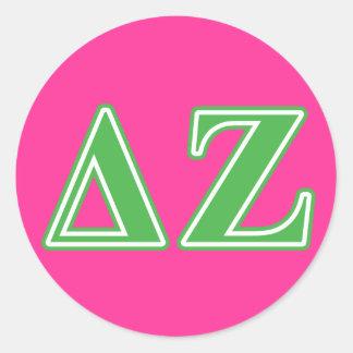 Lettres vertes de Zeta de delta Sticker Rond