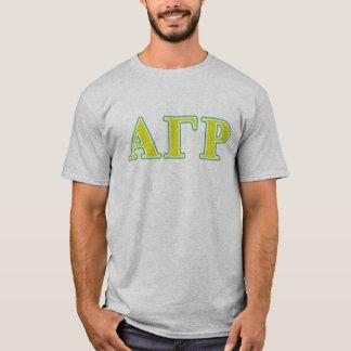 Lettres vertes et jaunes d'alpha Rho gamma T-shirt