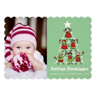 Leuke Kerstboom Kinderen Kaart van de Foto Cartons D'invitation