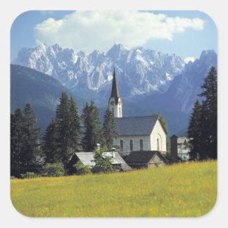 L'Europe, Autriche, Gosau. La flèche de l'église Sticker Carré