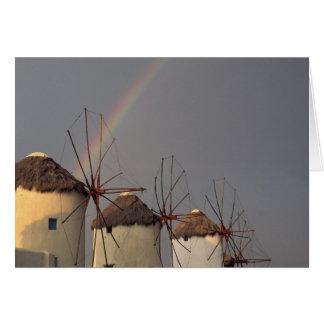 L'Europe, Grèce, Mykonos. moulin de vent avec Carte De Vœux