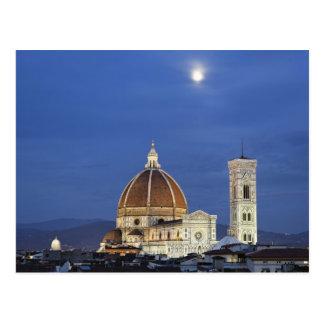 Lever de la lune et cathédrale de Florence, Di de Carte Postale