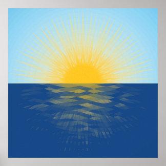 Lever de soleil au-dessus des nouveaux débuts poster