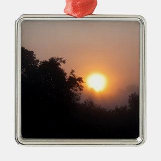 Lever de soleil brumeux de matin ornement carré argenté