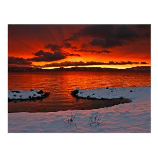 Lever de soleil de Coloful le lac Tahoe… Carte Postale