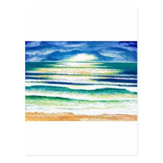 Lever de soleil de décor de plage de ressacs de cartes postales