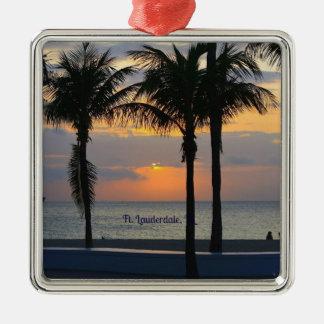 Lever de soleil de Fort Lauderdale Ornement Carré Argenté