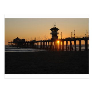 Lever de soleil de Huntington Beach à la plage Cartes Postales