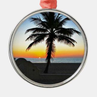 Lever de soleil de la Floride avec le palmier Ornement Rond Argenté