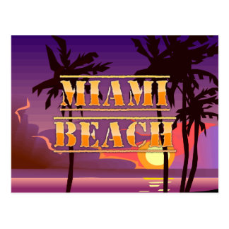 Lever de soleil de Miami Beach et carte postale de