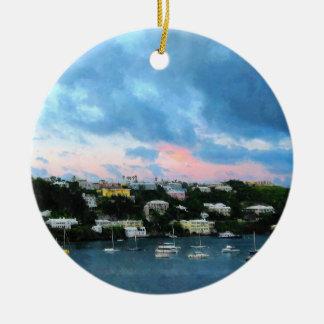 Lever de soleil de port de Wharf Bermudes du Roi Ornement Rond En Céramique