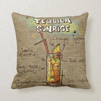 Lever de soleil de tequila/coussin de recette Mary Coussins Carrés