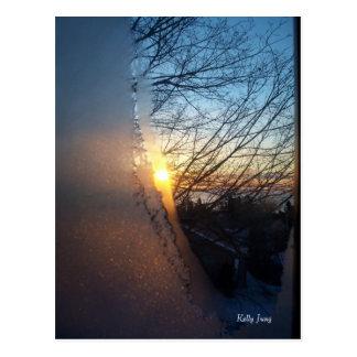 Lever de soleil givré carte postale