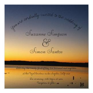 Lever de soleil sur le mariage de lac carton d'invitation  13,33 cm