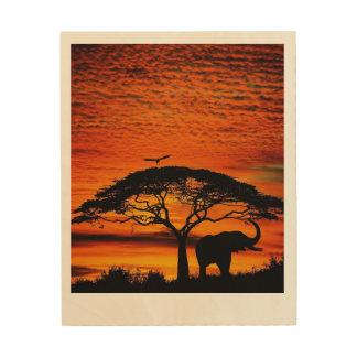 Levers de soleil et couchers du soleil impression sur bois