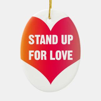 Levez-vous pour l'amour (le coeur Rouge-Orange) Ornement Ovale En Céramique