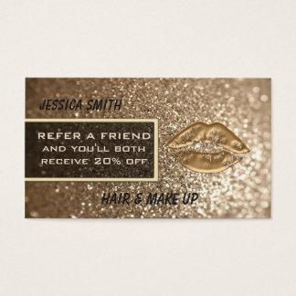 Lèvres chics scintillantes d'or de faux de luxe de cartes de visite
